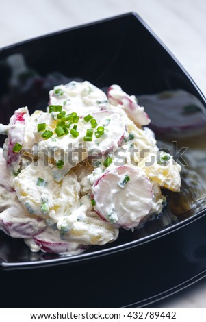 spring potato salad with radishes