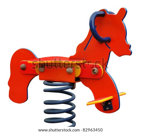 spring rocking-horse (isolated with clipping path) - stock photo