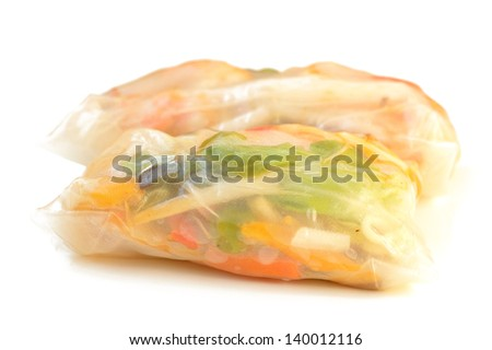 Spring rolls on a white background close-up - stock photo