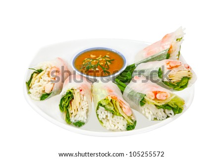Spring rolls packed shrimp, noodle and vegetable, with dipping sauce - stock photo