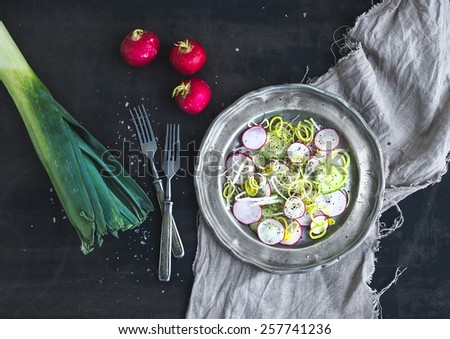 Spring salad with leek, radish and cucumber in vintage metal plate over rustic dark painted background, top view - stock photo