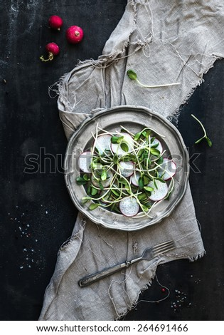 Spring salad with sunflower sprouts and radish in vintage metal plate over rustic dark painted background, top view - stock photo