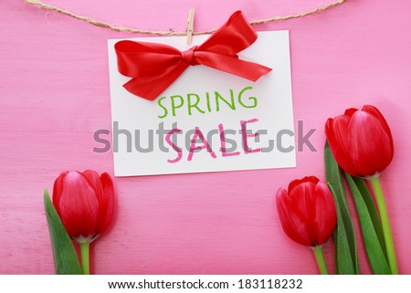 Spring sale sign hanging with clothespins over red tulips and pink wooden board - stock photo