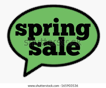 Spring sale sign in green speech bubble