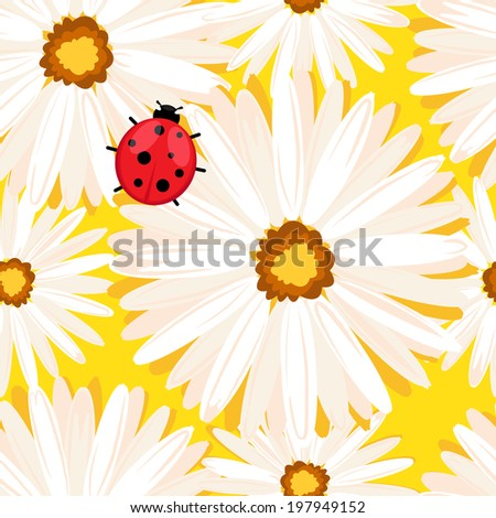 Spring seamless background with with  ladybug in chamomile flowers.  Illustration format. - stock photo