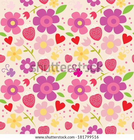 Spring seamless pattern with flowers. Raster version. - stock photo