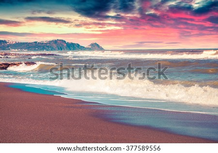 Spring seascape on the Mediterranean beach, Tonnarella located . Sunrise in Sicily. Messina, Italy. Instagram toning. - stock photo