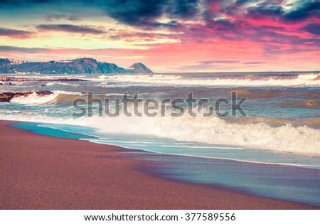 Spring seascape on the Mediterranean beach, Tonnarella located . Sunrise in Sicily. Messina, Italy. Instagram toning. - stock photo