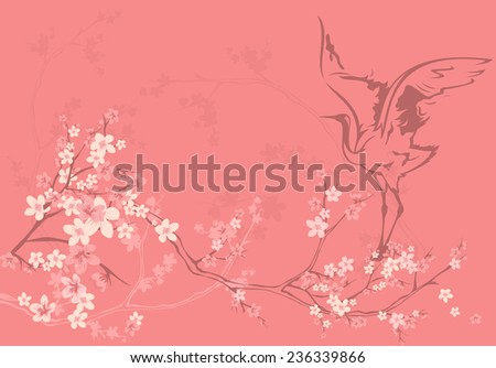 spring season background with crane bird among sakura tree flowers - stock photo