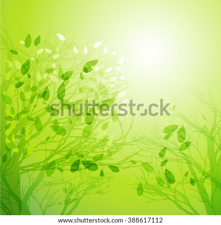 Spring  Season tree with green leaves - stock photo
