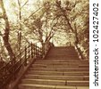 spring shot of the stairs in park, budapest - stock photo