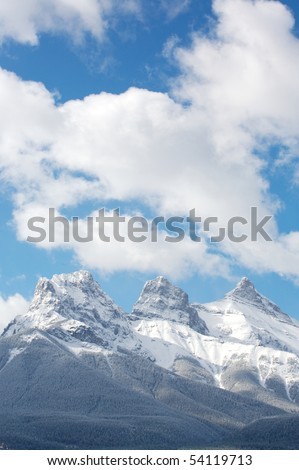 Three sisters mountain range stock images royalty free images spring snowfall on the three sisters mountain range in the canadian rockies sciox Gallery