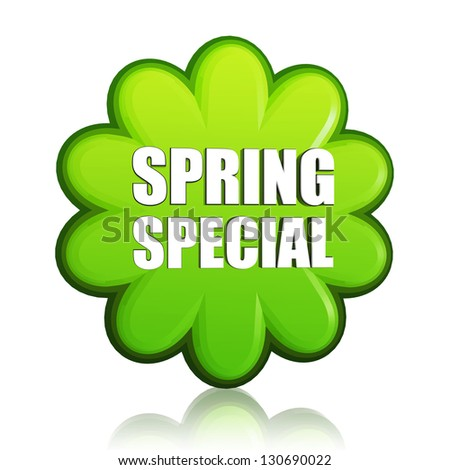 spring special banner - 3d green flower label with white text, business sale concept
