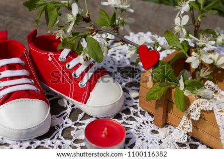Spring still life with red children's bootees. Nearby a red candle and the blossoming plum branches in a wooden box.