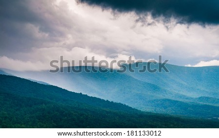 Spring storm clouds over the Blue Ridge Mountains, seen from Skyline Drive in Shenandoah National Park, Virginia. - stock photo