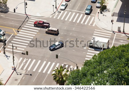 Spring Street and traffic in Los Angeles, USA - stock photo