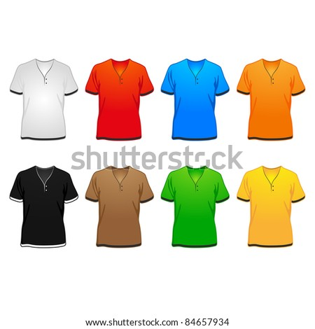 spring/summer/autumn v-shirts in different colors illustration