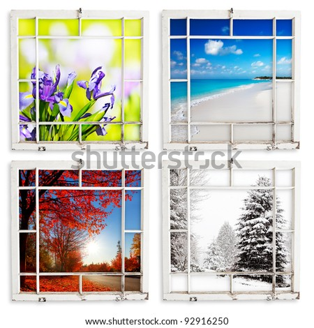 Spring, summer, fall and winter views through grungy window frames. Clipping paths for frames