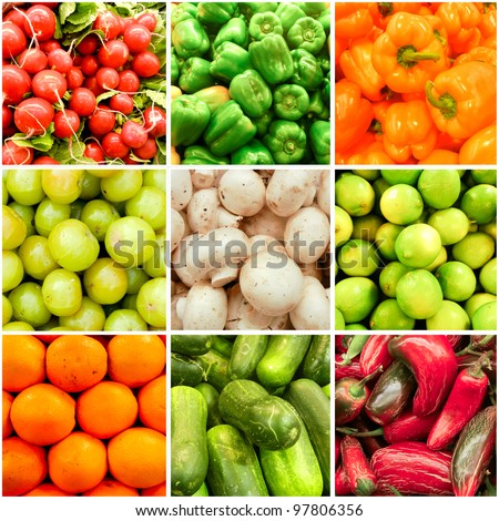Spring Summer Fruit and Vegetable collage. Health Backdrop. Active Lifestyle. - stock photo