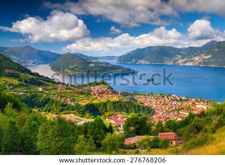 Spring sunny morning on the city Maroney. Italy, the Alps, Lake Iseo. - stock photo