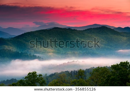 Spring sunrise view of layered mist in the  mountains of Great Smoky Mountains National Park