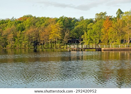 Spring Sunset on a Pennsylvania  Lake.   Destination Tobyhanna State Park - stock photo