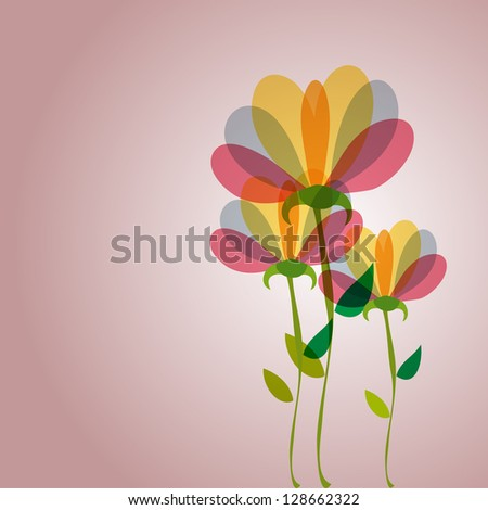 Spring time contemporary transparent flowers background
