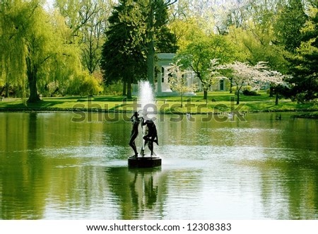 Spring Time-Mirror Lake-Buffalo,New York - stock photo