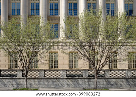 Spring time on Pennsylvania Avenue in Washington DC - stock photo