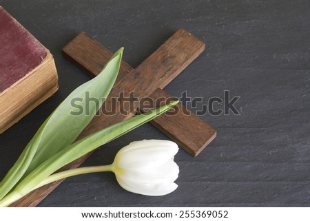 Spring tulip and cross abstract easter concept - stock photo
