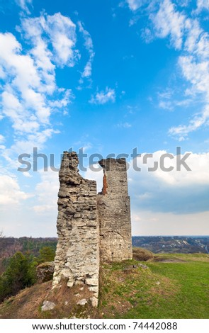 Spring view of ancient castle ruins ( Kremenets city , Ternopil Region, Ukraine). Built in 12th century. - stock photo