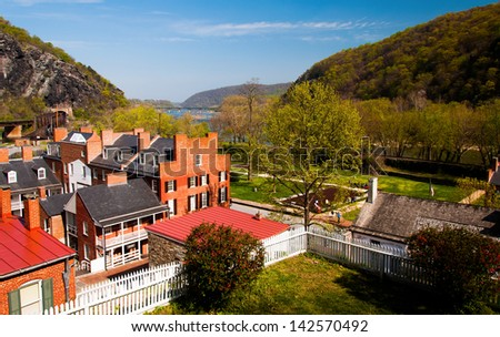 Spring view of Harper's Ferry, West Virginia. - stock photo