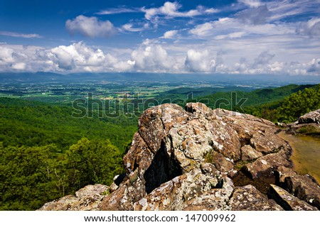 Spring view of the Shenandoah Valley from Franklin Cliffs Overlook, along Skyline Drive in Shenandoah National Park, Virginia - stock photo
