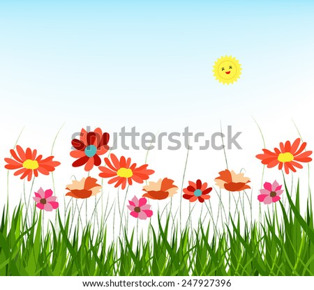 spring with grass and blue sky background - stock photo