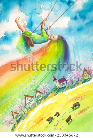 Spring with rainbow hair swinging above village.Picture created with watercolors. - stock photo