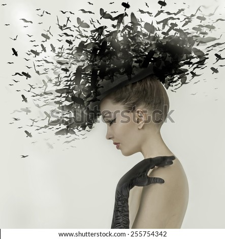 Spring Woman Fantasy Fashion Portrait. Fall. Beautiful Girl. Fashion Art Border Design. Hairstyle decorated with birds. - stock photo
