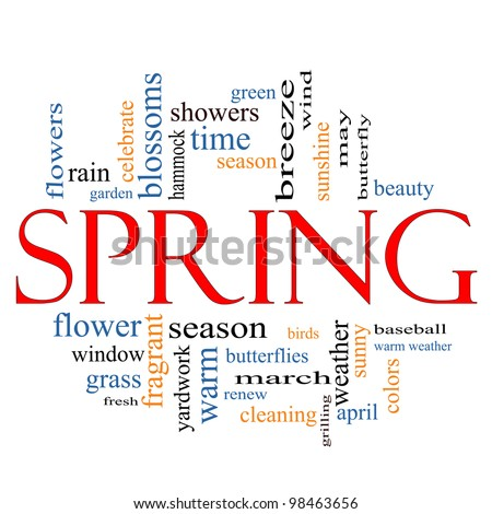 Spring Word Cloud Concept with great terms such as butterfly, season, flowers, showers, baseball, April and more. - stock photo