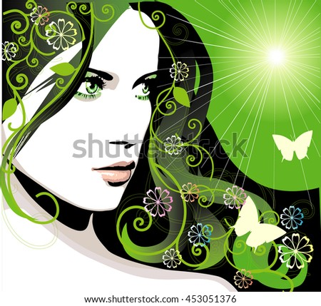 Spring young girl with flowers on long beautiful hair. Natural beauty. Raster version - stock photo