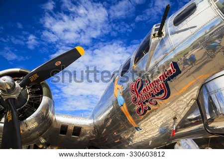SPRINGBANK CANADA 20 JUL 2015: International Air Show and Open House for Canadian, USA and British current and historical military and civilian aircrafts. There were also numerous flights as well. - stock photo