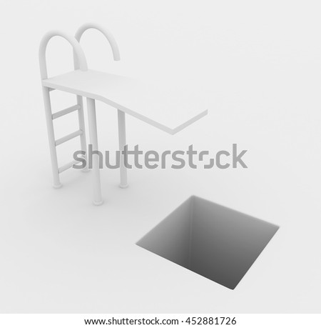 Springboard drop pitfall white abstract, horizontal, 3d illustration - stock photo