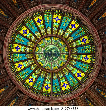 SPRINGFIELD, ILLINOIS - AUGUST 11: Inner dome from the rotunda floor of the Illinois State Capitol building on August 11, 2014 in Springfield, Illinois - stock photo