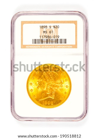 SPRINGFIELD, OR - ARPIL 2, 2014: 20 dollar 1898 S Liberty Head gold coin graded by Numismatic Guaranty Corporation in a mint collector case. - stock photo