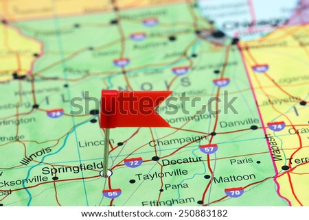 Springfield pinned on a map of USA  - stock photo