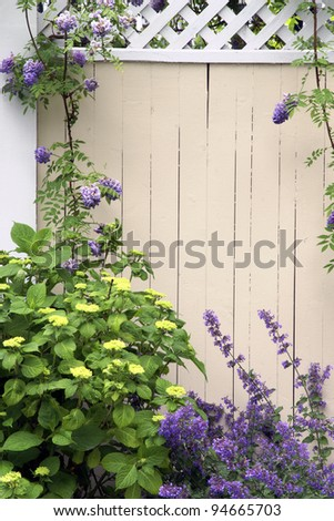 Springtime Fence Vertical With Copy Space - stock photo