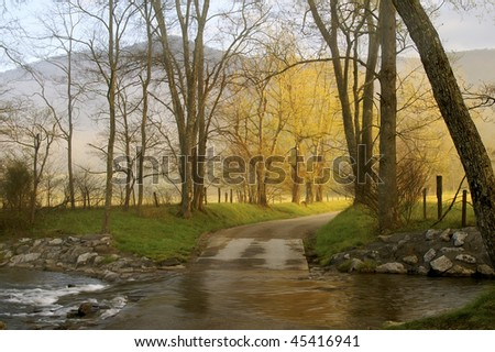 Springtime Flooded Creek, Sparks Lane, Great Smoky Mountains National Park Horizontal - stock photo