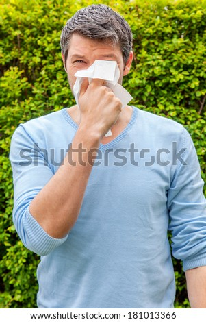 springtime man suffering with white tissue - stock photo