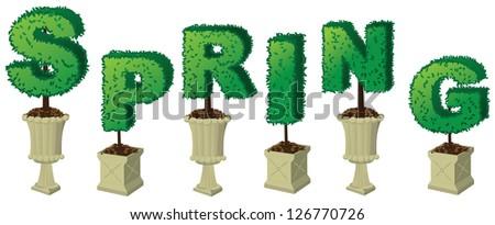 SpringTopiary Word JPG - stock photo
