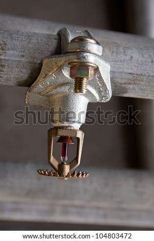 Sprinkler head mount on pipe - stock photo