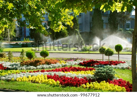 Sprinkler system is watering the lawn. - stock photo