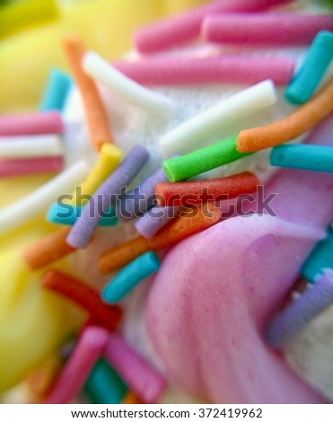 Sprinkling baking decoration in macro - stock photo